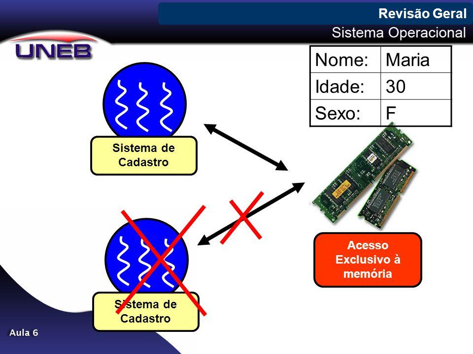 Revisão Geral Sistema de Cadastro Acesso Exclusivo à memória Sistema de Cadastro Nome:Maria Idade:30 Sexo:F