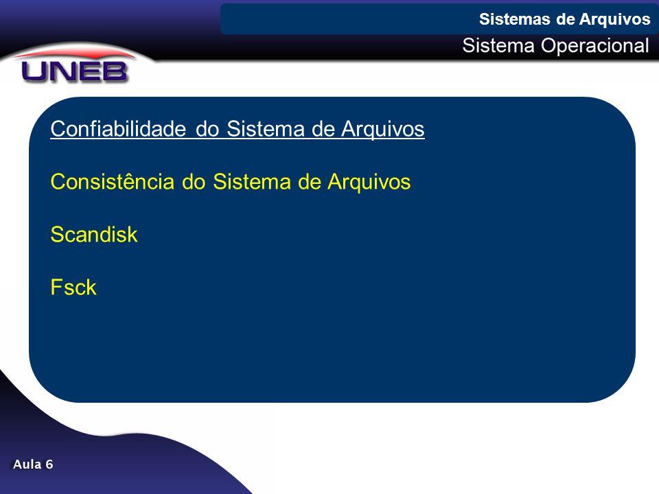 Confiabilidade do Sistema de Arquivos Consistência do Sistema de Arquivos Scandisk Fsck Sistemas de Arquivos
