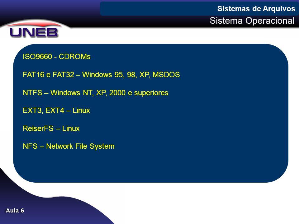ISO9660 - CDROMs FAT16 e FAT32 – Windows 95, 98, XP, MSDOS NTFS – Windows NT, XP, 2000 e superiores EXT3, EXT4 – Linux ReiserFS – Linux NFS – Network