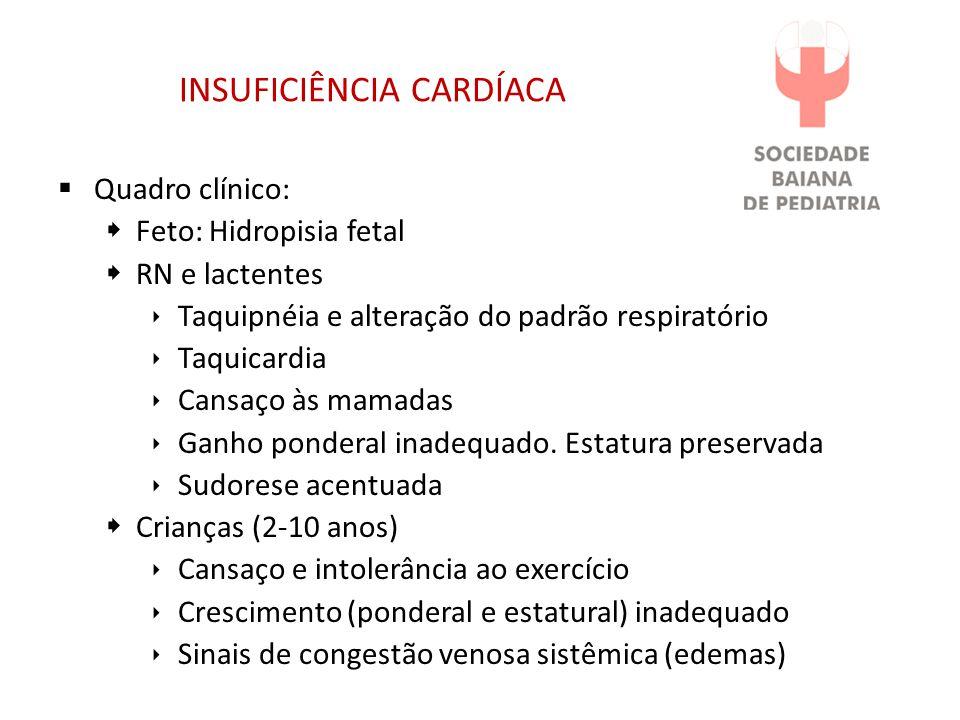 INSUFICIÊNCIA CARDÍACA Quadro clínico: Feto: Hidropisia fetal RN e lactentes Taquipnéia e alteração do padrão respiratório Taquicardia Cansaço às mamadas Ganho ponderal inadequado.