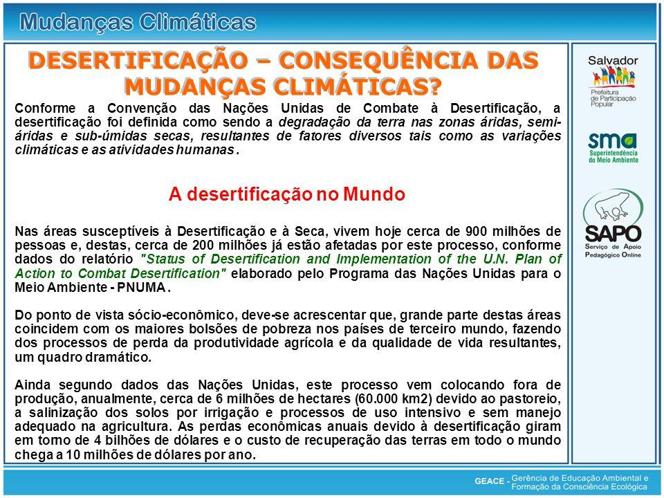 Conforme a Convenção das Nações Unidas de Combate à Desertificação, a desertificação foi definida como sendo a degradação da terra nas zonas áridas, s