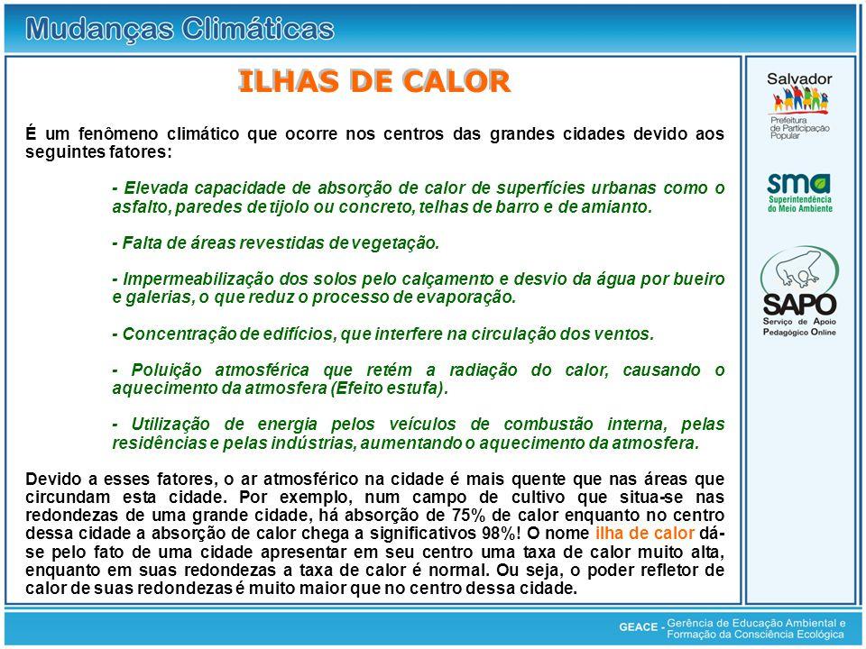 ILHAS DE CALOR É um fenômeno climático que ocorre nos centros das grandes cidades devido aos seguintes fatores: - Elevada capacidade de absorção de ca