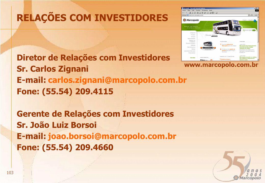 RELAÇÕES COM INVESTIDORES Diretor de Relações com Investidores Sr. Carlos Zignani E-mail: carlos.zignani@marcopolo.com.br Fone: (55.54) 209.4115 Geren