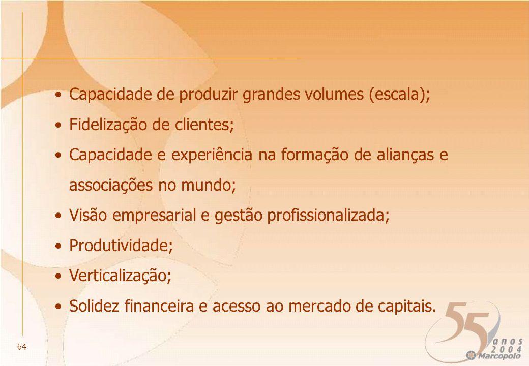 Capacidade de produzir grandes volumes (escala); Fidelização de clientes; Capacidade e experiência na formação de alianças e associações no mundo; Vis