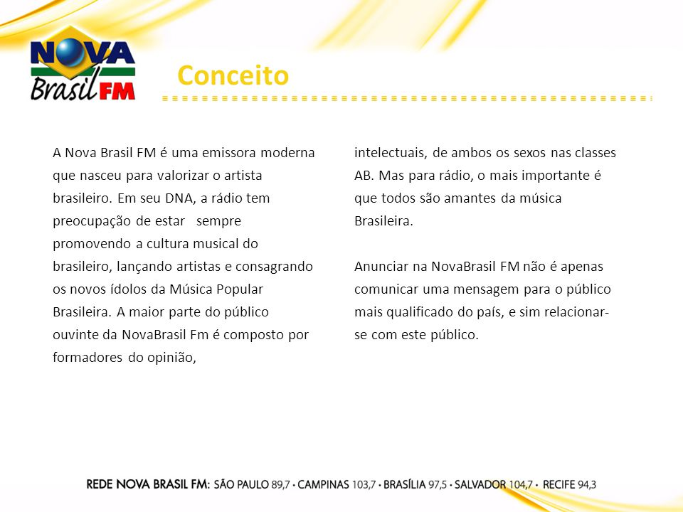 ARQUIVO NOVA BRASIL FM De segunda a sexta-feira das 20h às 22h, a Nova Brasil apresenta o ARQUIVO NOVA BRASIL FM programa que reunirá flashbacks dos maiores nomes da Música Popular Brasileira, desde a década de 1960 até a primeira metade dos anos 2000.