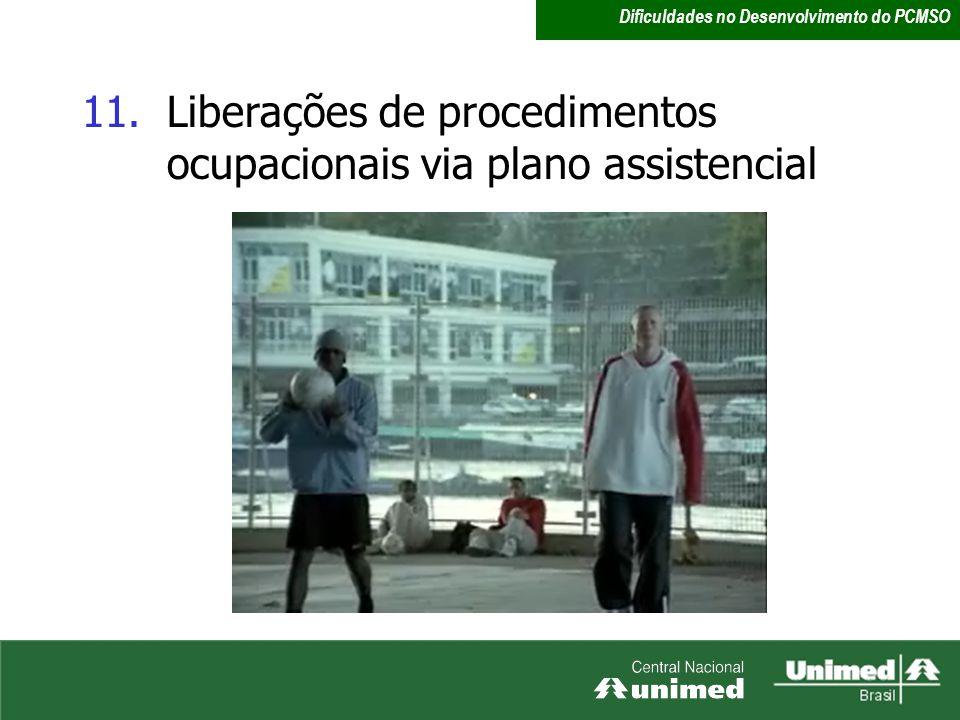 11.Liberações de procedimentos ocupacionais via plano assistencial Dificuldades no Desenvolvimento do PCMSO
