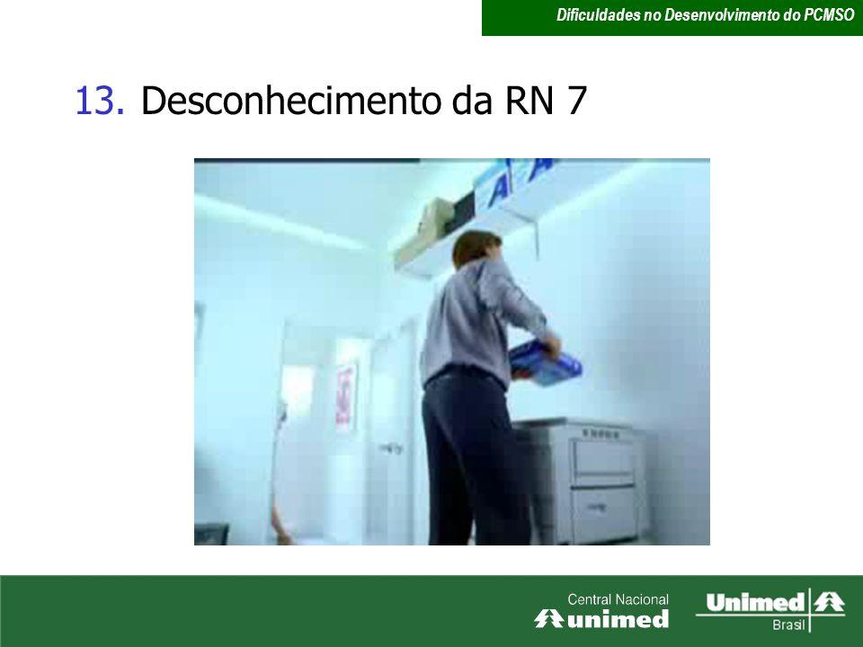 13.Desconhecimento da RN 7 Dificuldades no Desenvolvimento do PCMSO