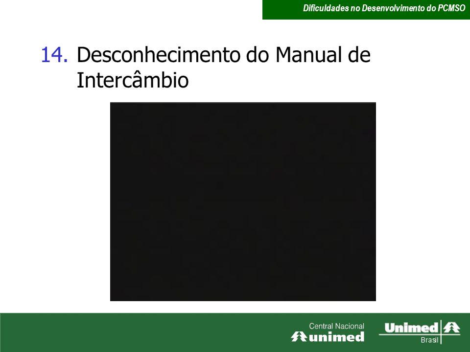 14.Desconhecimento do Manual de Intercâmbio Dificuldades no Desenvolvimento do PCMSO