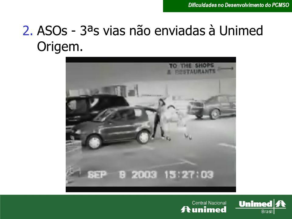 2.ASOs - 3ªs vias não enviadas à Unimed Origem. Dificuldades no Desenvolvimento do PCMSO