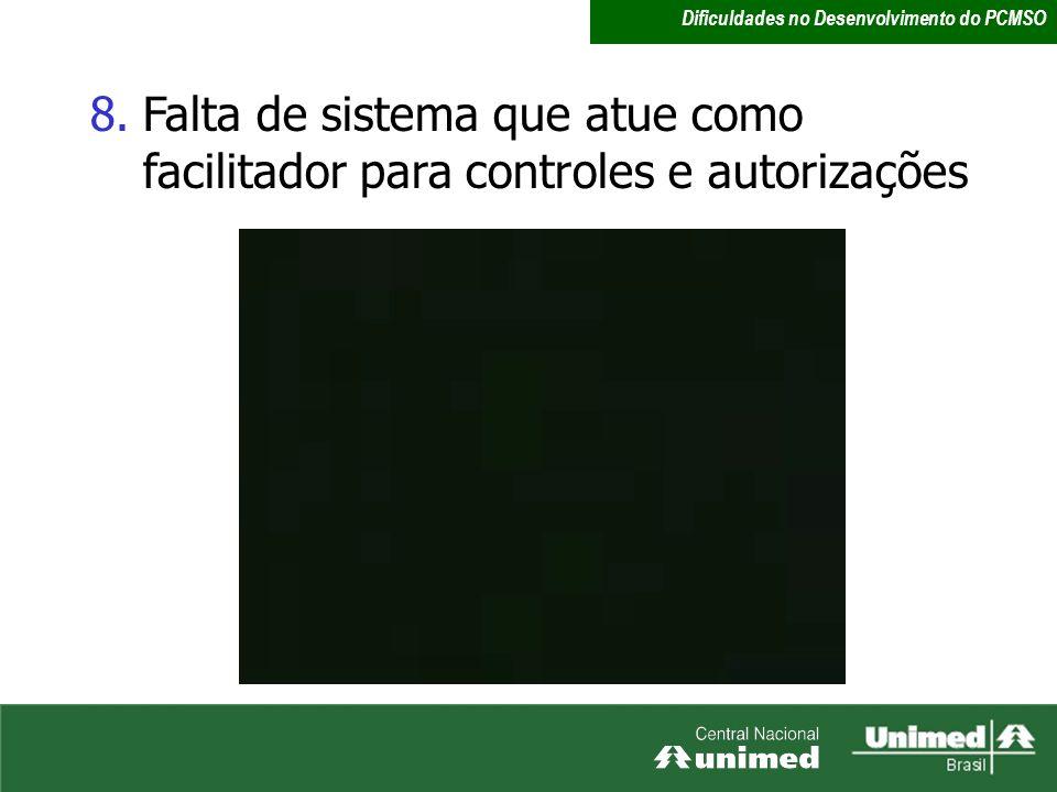 8.Falta de sistema que atue como facilitador para controles e autorizações Dificuldades no Desenvolvimento do PCMSO
