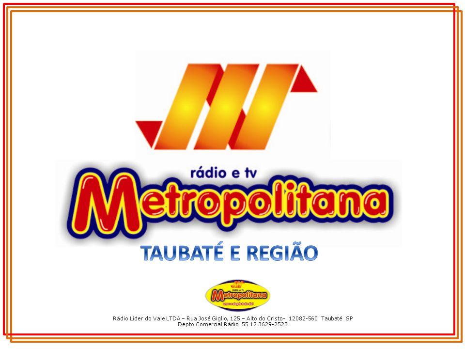 Rádio Líder do Vale LTDA – Rua José Giglio, 125 – Alto do Cristo- 12082-560 Taubaté SP Depto Comercial Rádio 55 12 3629-2523