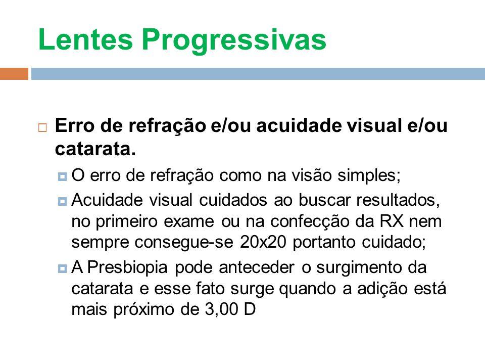 Lentes Progressivas Erro de refração e/ou acuidade visual e/ou catarata. O erro de refração como na visão simples; Acuidade visual cuidados ao buscar