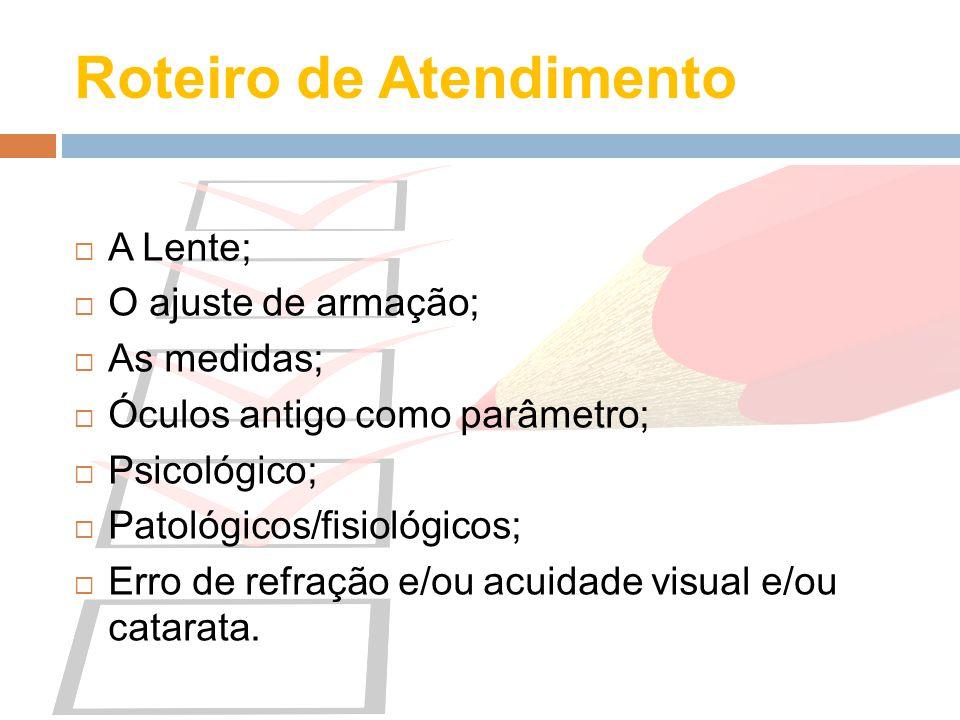 Roteiro de Atendimento A Lente; O ajuste de armação; As medidas; Óculos antigo como parâmetro; Psicológico; Patológicos/fisiológicos; Erro de refração
