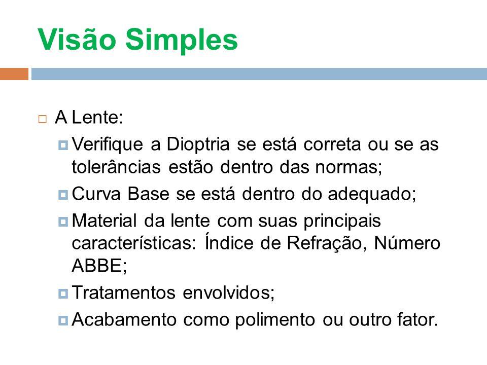 Visão Simples A Lente: Verifique a Dioptria se está correta ou se as tolerâncias estão dentro das normas; Curva Base se está dentro do adequado; Mater