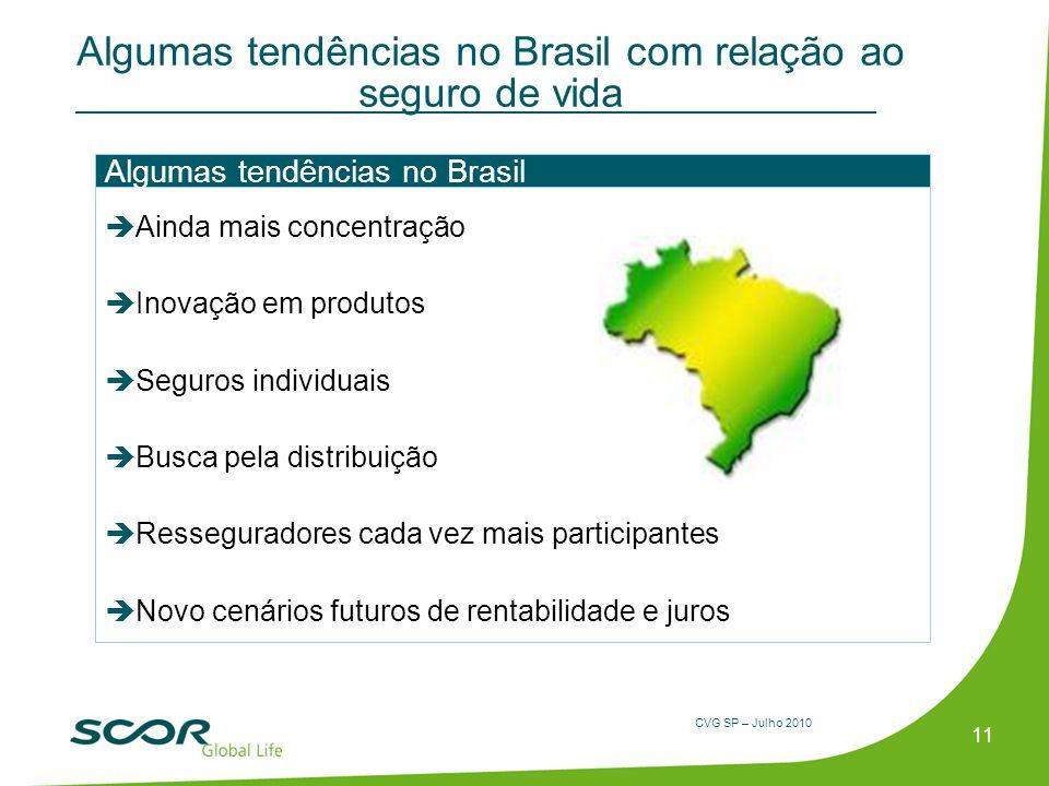 CVG SP – Julho 2010 Algumas tendências no Brasil com relação ao seguro de vida 11 Ainda mais concentração Inovação em produtos Seguros individuais Bus