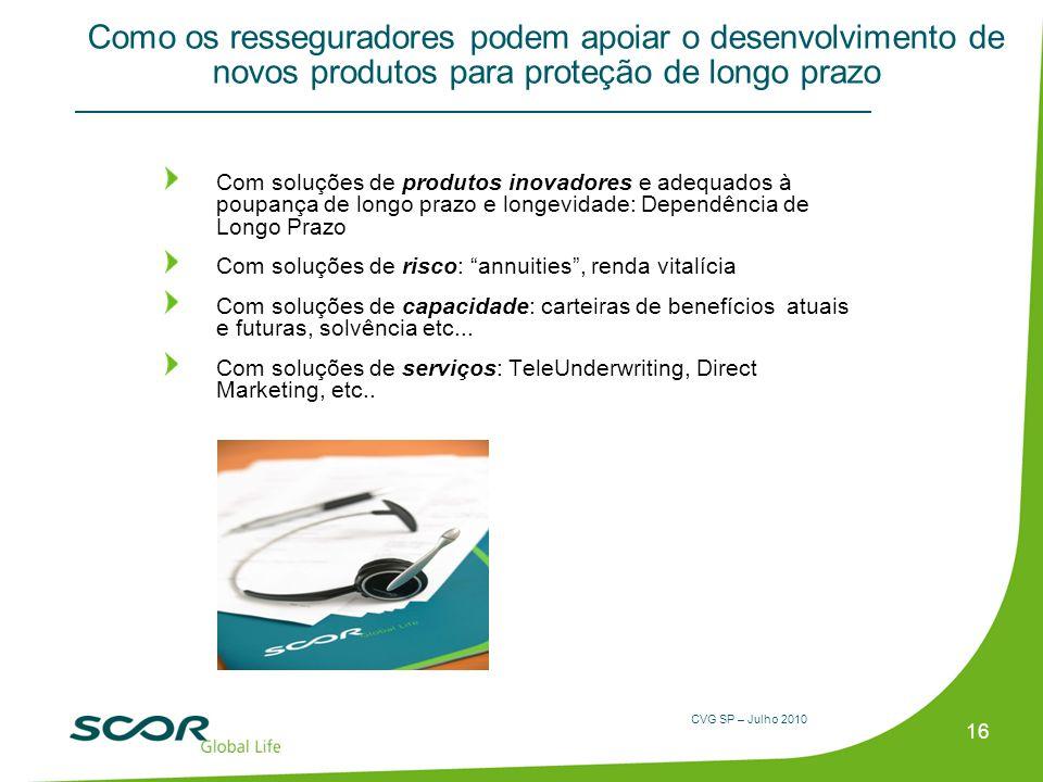 CVG SP – Julho 2010 Como os resseguradores podem apoiar o desenvolvimento de novos produtos para proteção de longo prazo Com soluções de produtos inov
