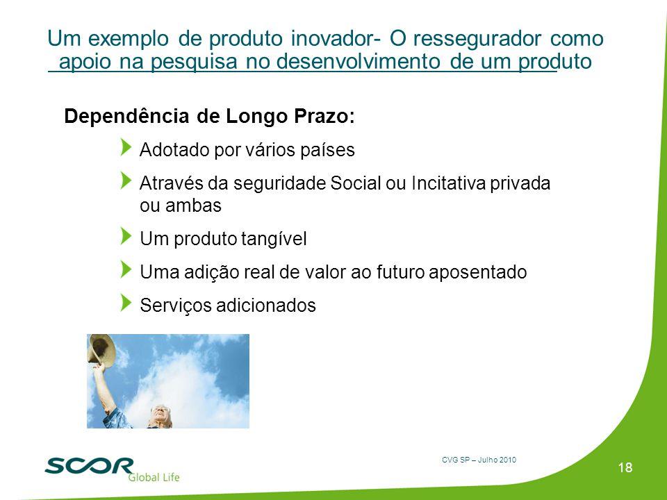 CVG SP – Julho 2010 Um exemplo de produto inovador- O ressegurador como apoio na pesquisa no desenvolvimento de um produto Dependência de Longo Prazo: