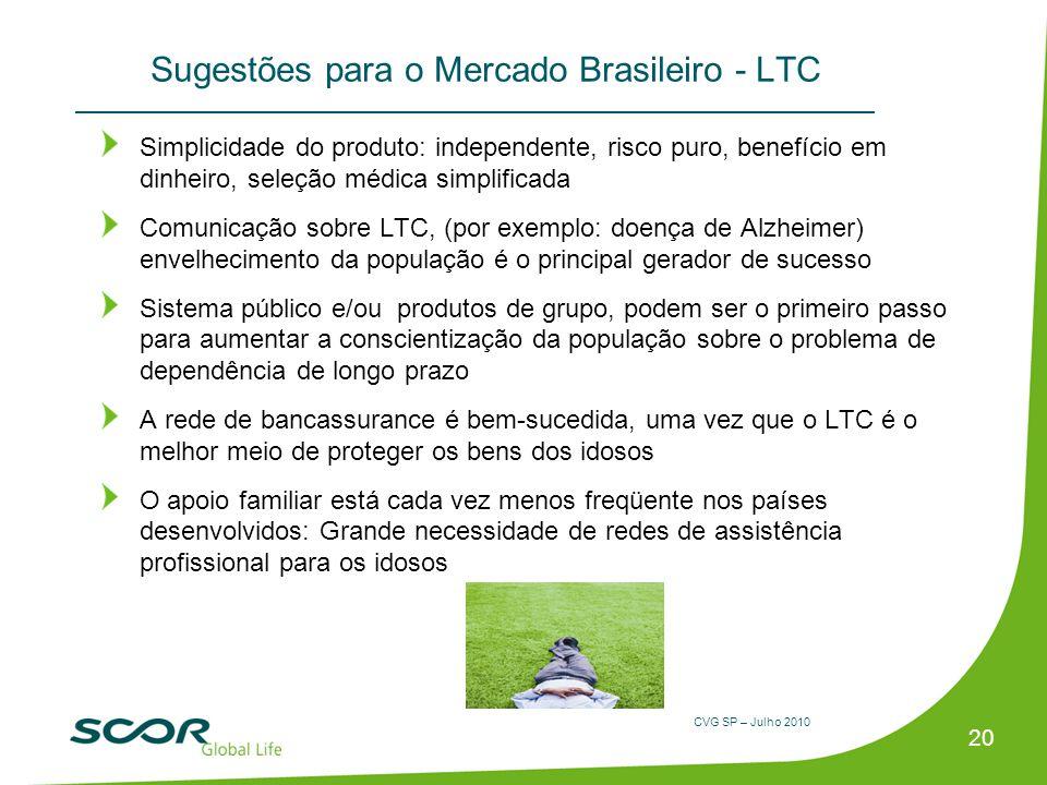 CVG SP – Julho 2010 20 Sugestões para o Mercado Brasileiro - LTC Simplicidade do produto: independente, risco puro, benefício em dinheiro, seleção méd
