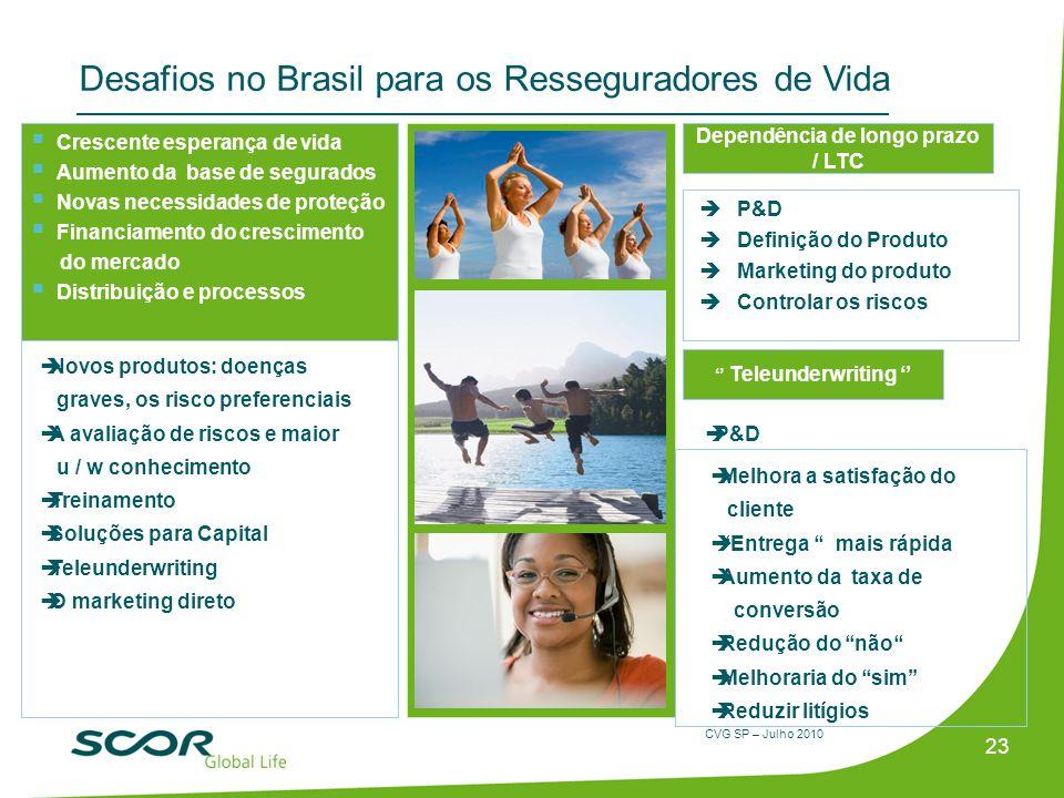 CVG SP – Julho 2010 Desafios no Brasil para os Resseguradores de Vida P&D Definição do Produto Marketing do produto Controlar os riscos 23 Crescente e