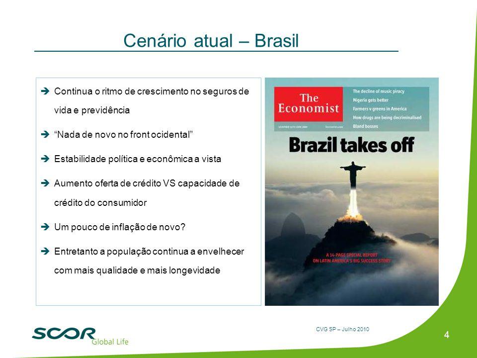 CVG SP – Julho 2010 Cenário atual – Brasil 4 Continua o ritmo de crescimento no seguros de vida e previdência Nada de novo no front ocidental Estabili