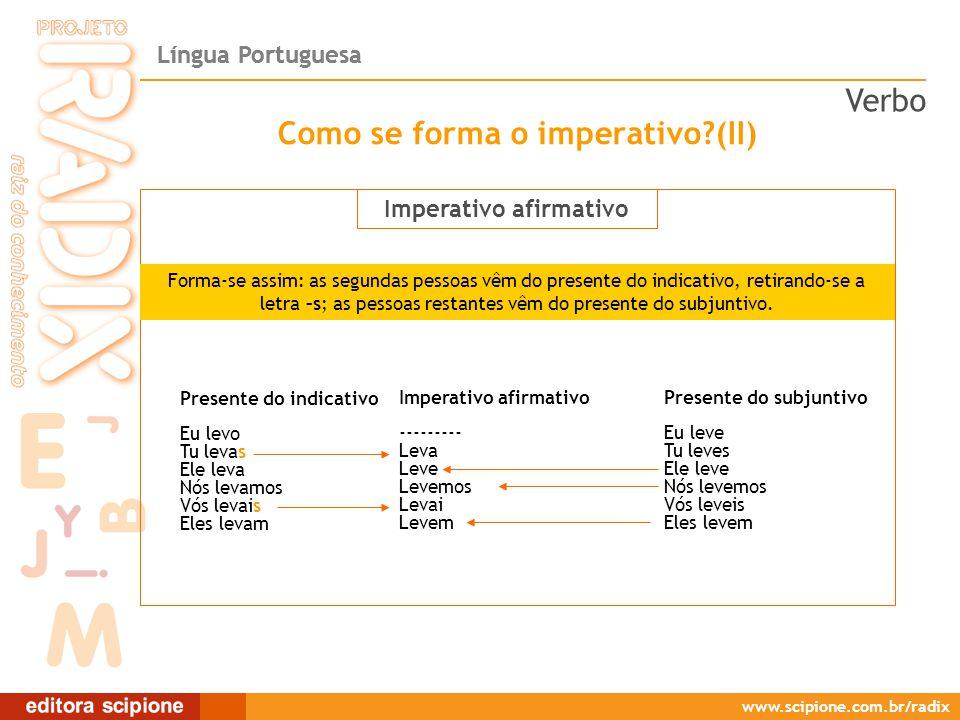Língua Portuguesa www.scipione.com.br/radix O verbo sempre faz parte do predicado e é a palavra em torno da qual uma oração se estrutura.