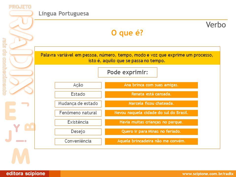 Língua Portuguesa www.scipione.com.br/radix É o conjunto formado por verbos que exprimem um processo (em geral, verbo principal em uma de suas formas nominais + um verbo devidamente flexionado).