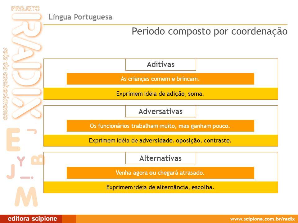 Língua Portuguesa www.scipione.com.br/radix Aditivas As crianças comem e brincam. Exprimem idéia de adversidade, oposição, contraste. Os funcionários