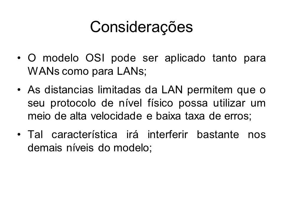 Considerações O modelo OSI pode ser aplicado tanto para WANs como para LANs; As distancias limitadas da LAN permitem que o seu protocolo de nível físico possa utilizar um meio de alta velocidade e baixa taxa de erros; Tal característica irá interferir bastante nos demais níveis do modelo;