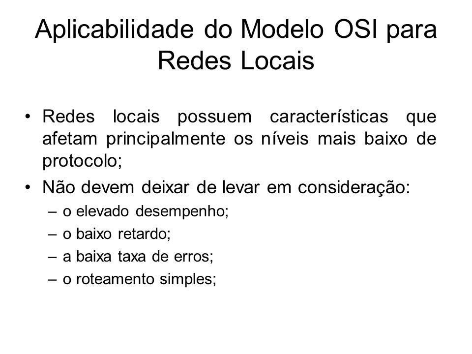 Aplicabilidade do Modelo OSI para Redes Locais Redes locais possuem características que afetam principalmente os níveis mais baixo de protocolo; Não devem deixar de levar em consideração: –o elevado desempenho; –o baixo retardo; –a baixa taxa de erros; –o roteamento simples;