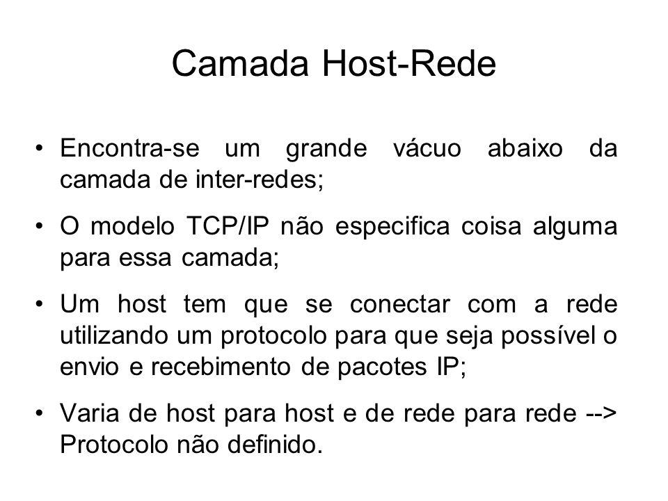 Camada Host-Rede Encontra-se um grande vácuo abaixo da camada de inter-redes; O modelo TCP/IP não especifica coisa alguma para essa camada; Um host tem que se conectar com a rede utilizando um protocolo para que seja possível o envio e recebimento de pacotes IP; Varia de host para host e de rede para rede --> Protocolo não definido.