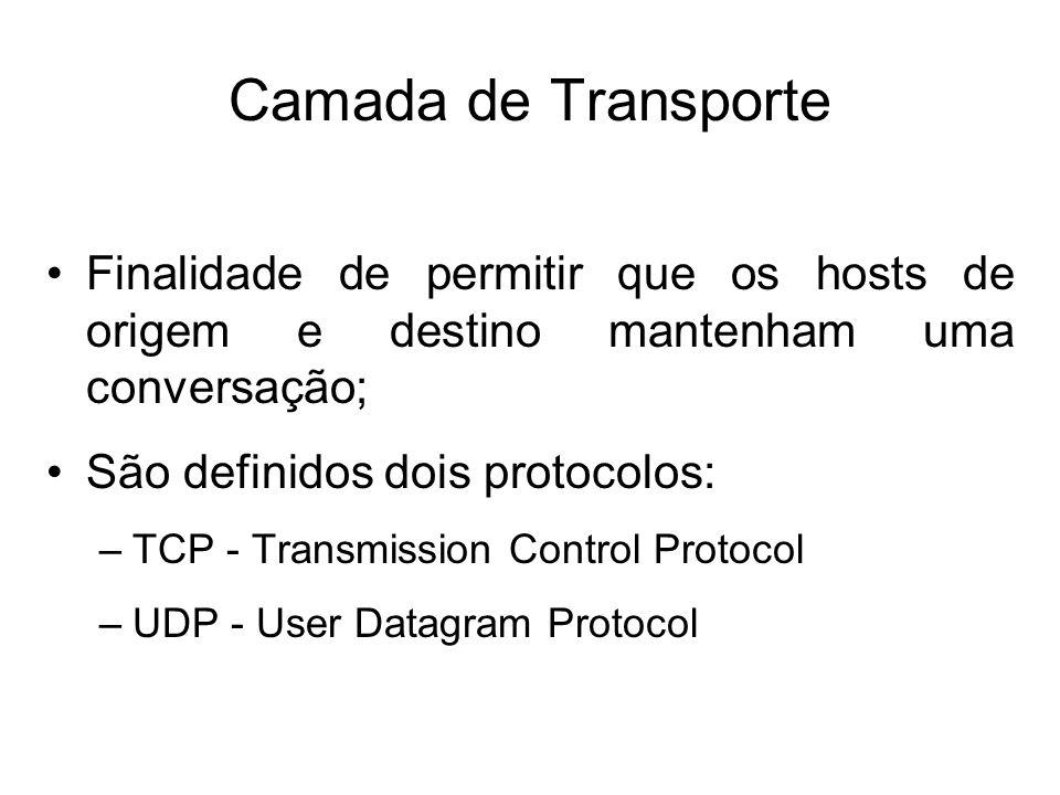 Camada de Transporte Finalidade de permitir que os hosts de origem e destino mantenham uma conversação; São definidos dois protocolos: –TCP - Transmission Control Protocol –UDP - User Datagram Protocol