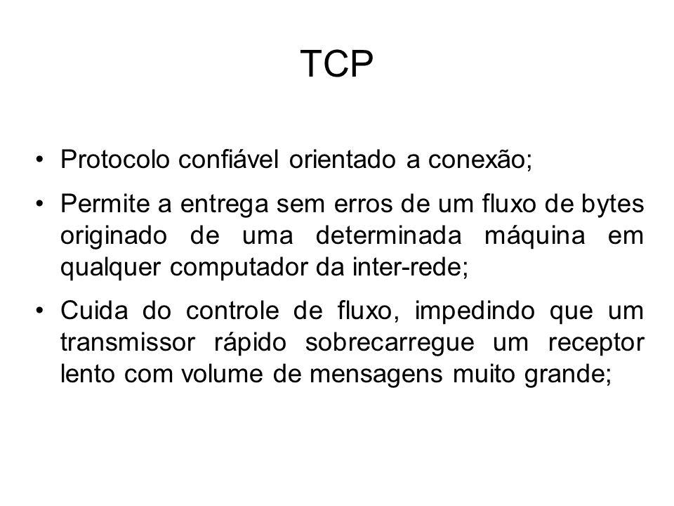 TCP Protocolo confiável orientado a conexão; Permite a entrega sem erros de um fluxo de bytes originado de uma determinada máquina em qualquer computador da inter-rede; Cuida do controle de fluxo, impedindo que um transmissor rápido sobrecarregue um receptor lento com volume de mensagens muito grande;