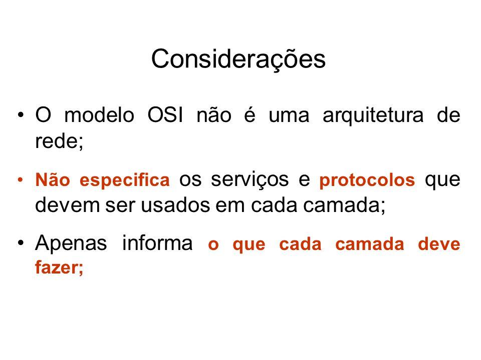 Considerações O modelo OSI não é uma arquitetura de rede; Não especifica os serviços e protocolos que devem ser usados em cada camada; Apenas informa o que cada camada deve fazer;