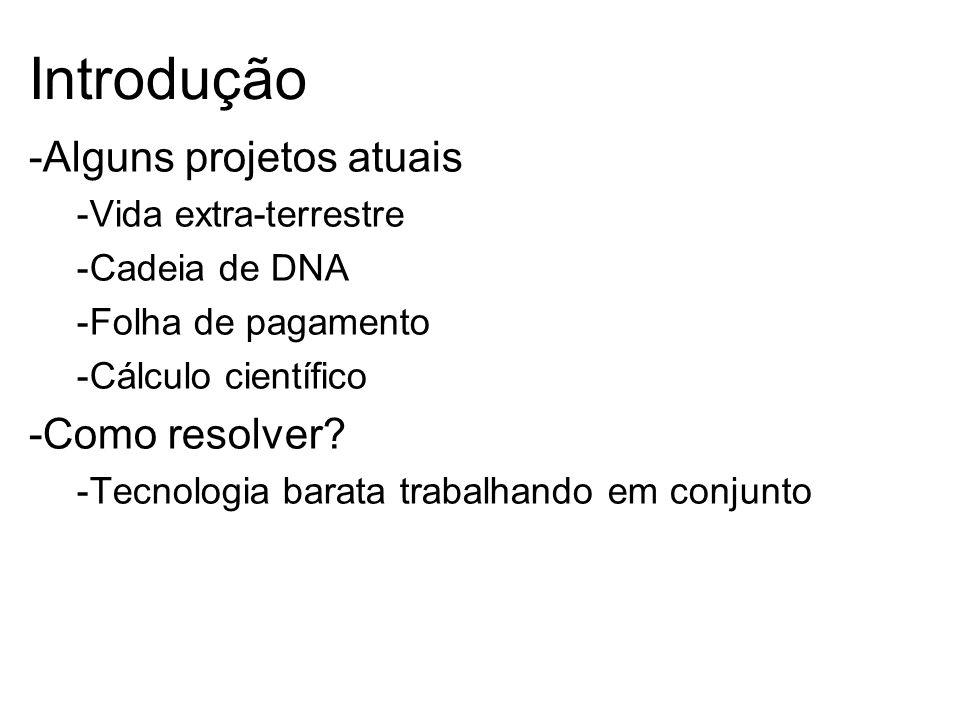 Introdução -Alguns projetos atuais -Vida extra-terrestre -Cadeia de DNA -Folha de pagamento -Cálculo científico -Como resolver.
