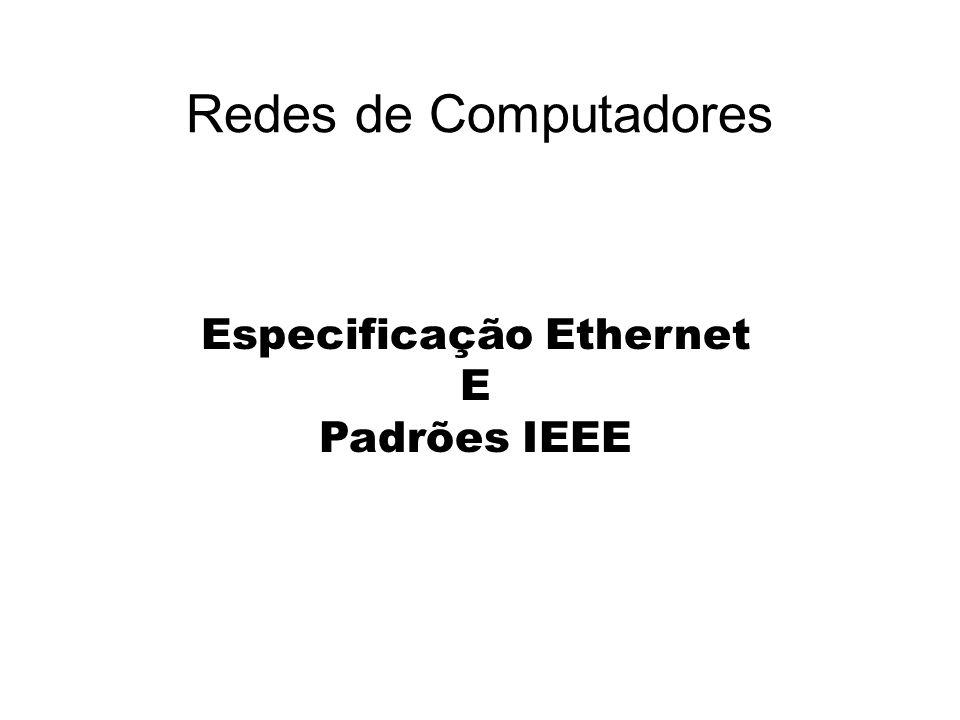 Padrão IEEE 802.3 Especificação 10Base 2 Especificação 10Base 5 Especificação 10Base T Especificação 10BaseFL