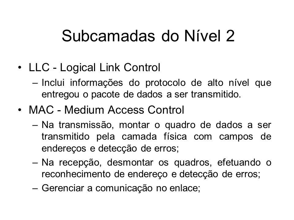 Subcamadas do Nível 2 LLC - Logical Link Control –Inclui informações do protocolo de alto nível que entregou o pacote de dados a ser transmitido. MAC