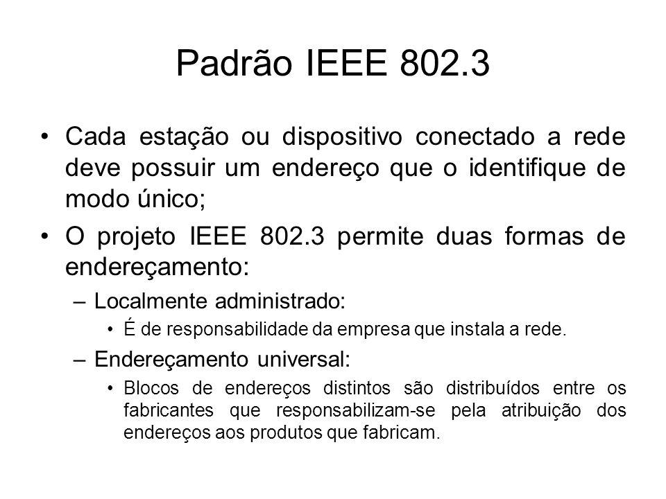 Padrão IEEE 802.3 Cada estação ou dispositivo conectado a rede deve possuir um endereço que o identifique de modo único; O projeto IEEE 802.3 permite