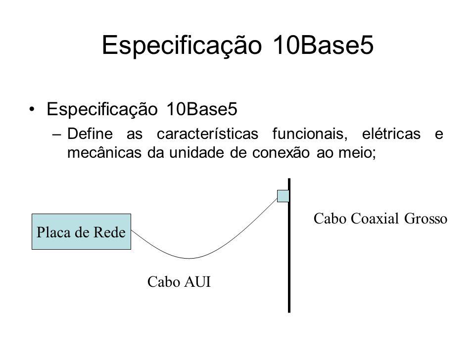 Especificação 10Base5 –Define as características funcionais, elétricas e mecânicas da unidade de conexão ao meio; Placa de Rede Cabo Coaxial Grosso Ca