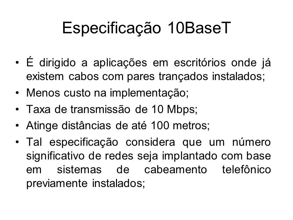 Especificação 10BaseT É dirigido a aplicações em escritórios onde já existem cabos com pares trançados instalados; Menos custo na implementação; Taxa