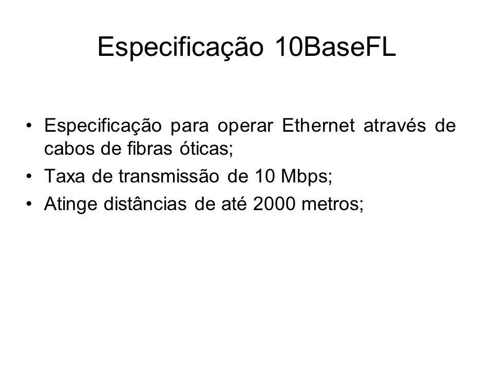 Especificação 10BaseFL Especificação para operar Ethernet através de cabos de fibras óticas; Taxa de transmissão de 10 Mbps; Atinge distâncias de até