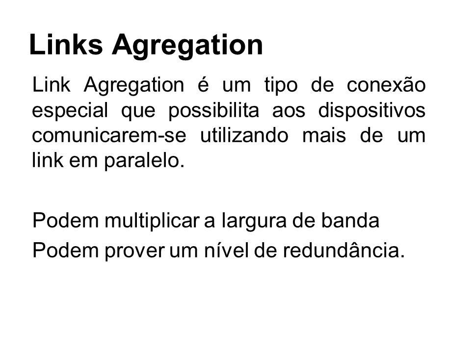 Links Agregation Link Agregation é um tipo de conexão especial que possibilita aos dispositivos comunicarem-se utilizando mais de um link em paralelo.