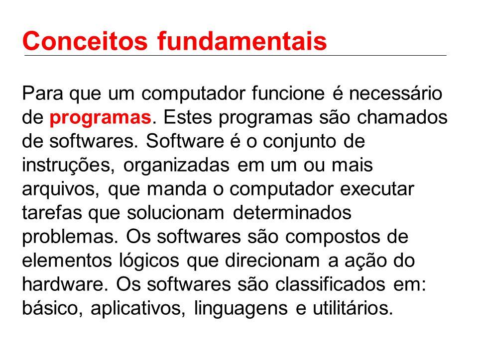 Conceitos fundamentais Para que um computador funcione é necessário de programas. Estes programas são chamados de softwares. Software é o conjunto de