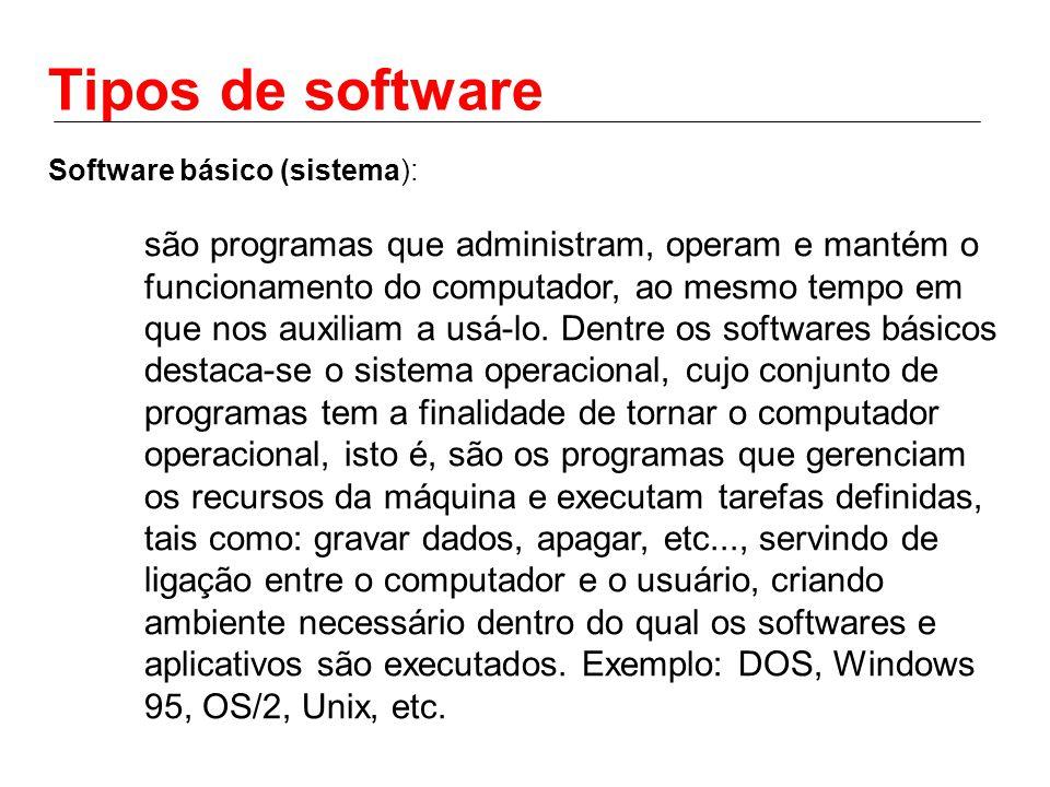 Tipos de software Software básico (sistema): são programas que administram, operam e mantém o funcionamento do computador, ao mesmo tempo em que nos auxiliam a usá-lo.