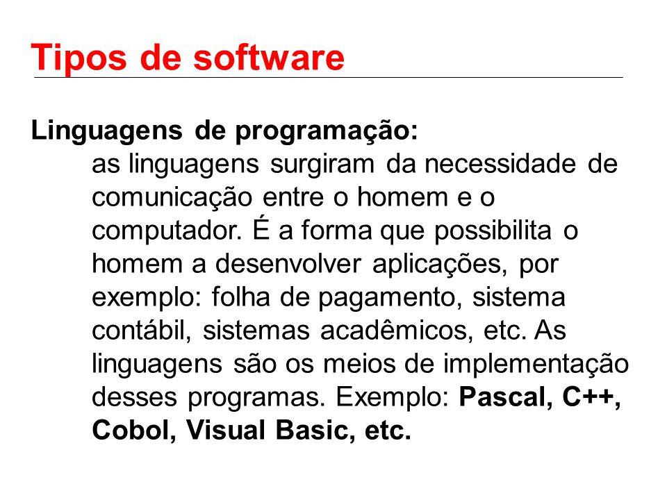 Tipos de software Linguagens de programação: as linguagens surgiram da necessidade de comunicação entre o homem e o computador.