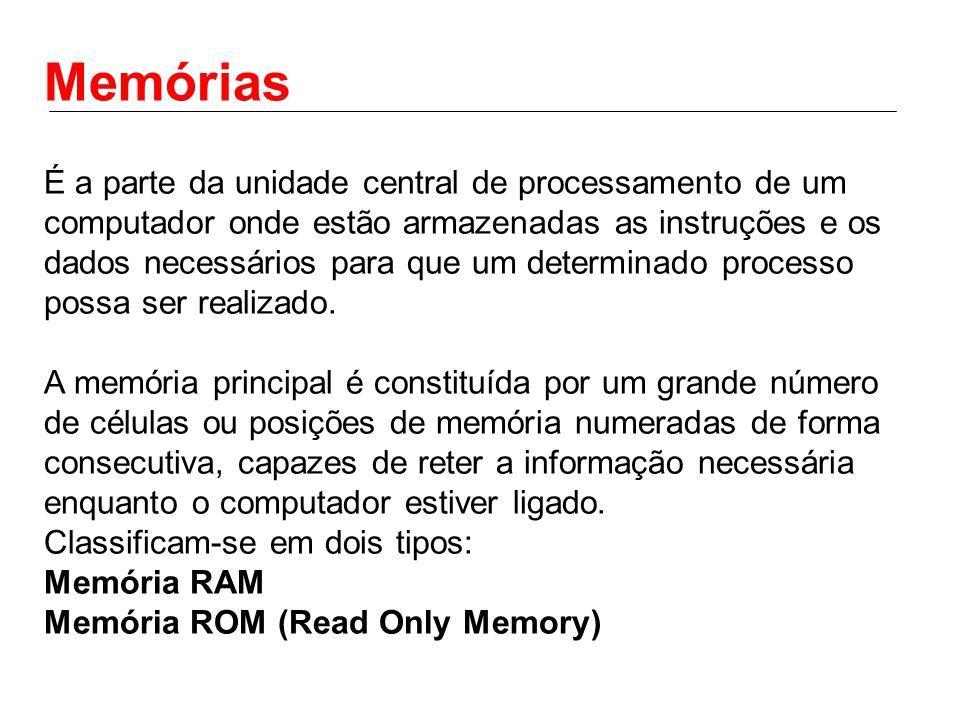 Memórias É a parte da unidade central de processamento de um computador onde estão armazenadas as instruções e os dados necessários para que um determinado processo possa ser realizado.