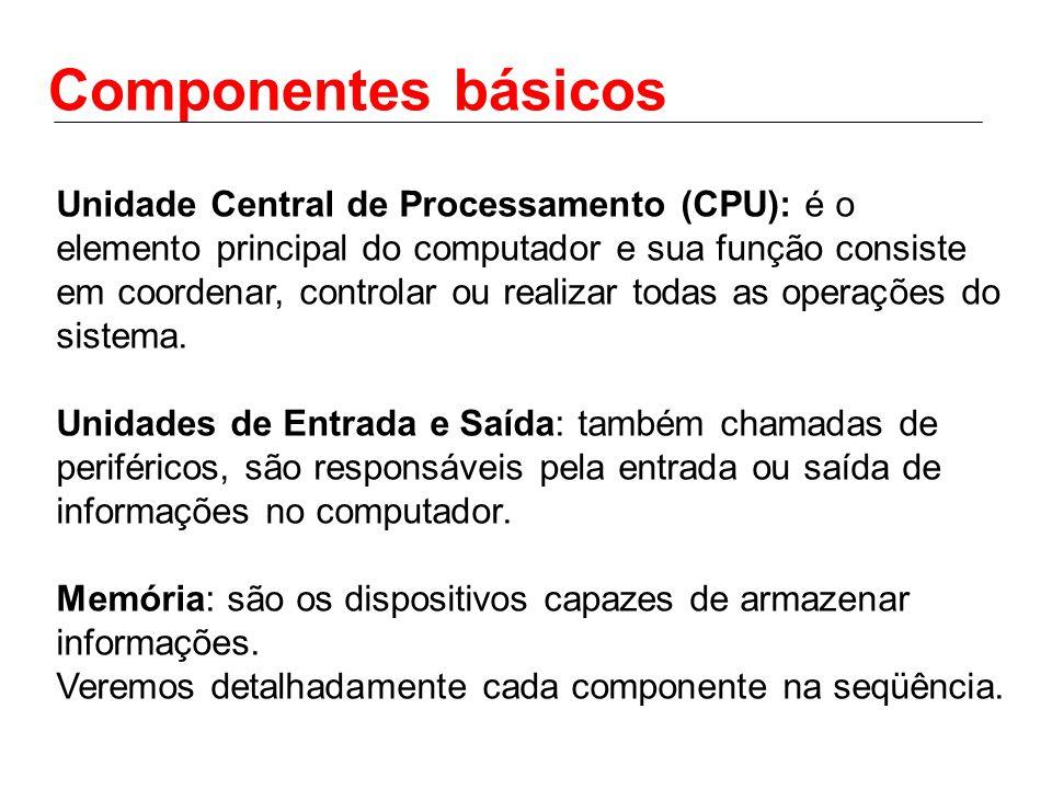 Componentes básicos Unidade Central de Processamento (CPU): é o elemento principal do computador e sua função consiste em coordenar, controlar ou realizar todas as operações do sistema.