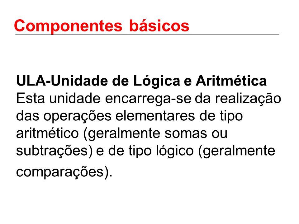 Componentes básicos ULA-Unidade de Lógica e Aritmética Esta unidade encarrega-se da realização das operações elementares de tipo aritmético (geralmente somas ou subtrações) e de tipo lógico (geralmente comparações).