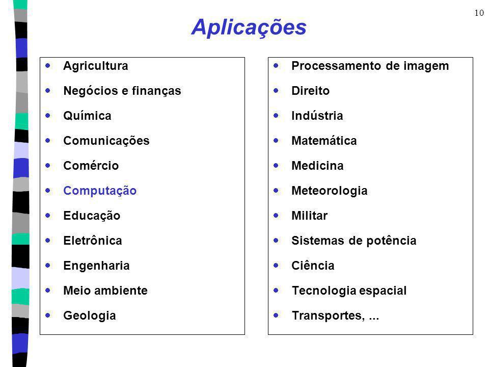 10 Aplicações Agricultura Negócios e finanças Química Comunicações Comércio Computação Educação Eletrônica Engenharia Meio ambiente Geologia Processam