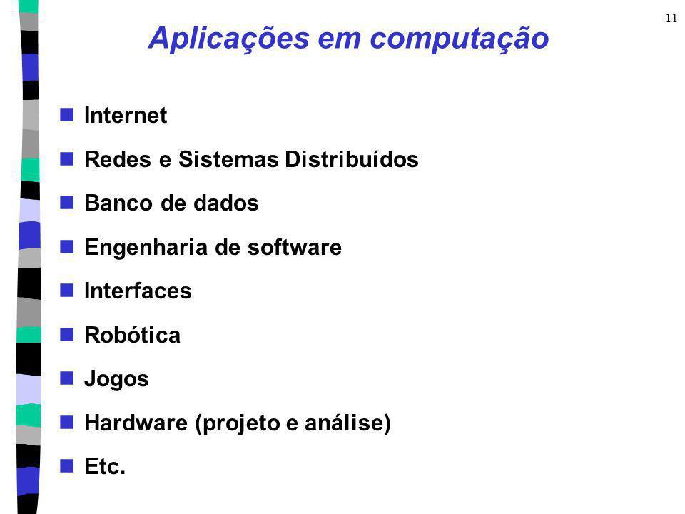 11 Aplicações em computação Internet Redes e Sistemas Distribuídos Banco de dados Engenharia de software Interfaces Robótica Jogos Hardware (projeto e
