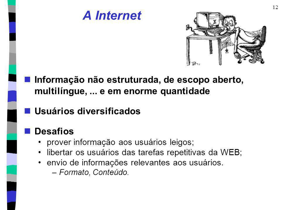 12 A Internet Informação não estruturada, de escopo aberto, multilíngue,... e em enorme quantidade Usuários diversificados Desafios prover informação